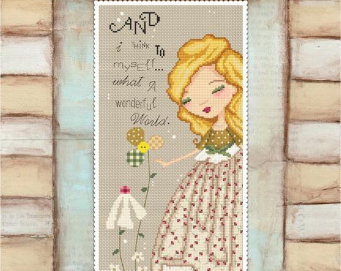 Wonderful World - art of Diane Duda - Cross stitch chart pattern -Lena Lawson Needlearts