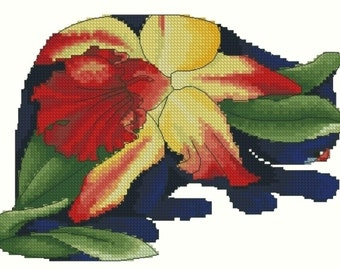Counted Cross Stitch Needlepoint Chart Orchid Cat by Myrea Pettit