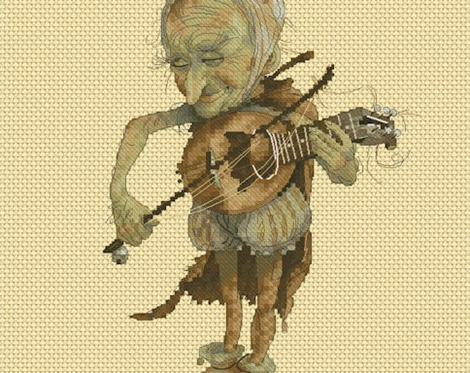 Cross Stitch Chart Old Ukulele by Jean-Baptiste Monge