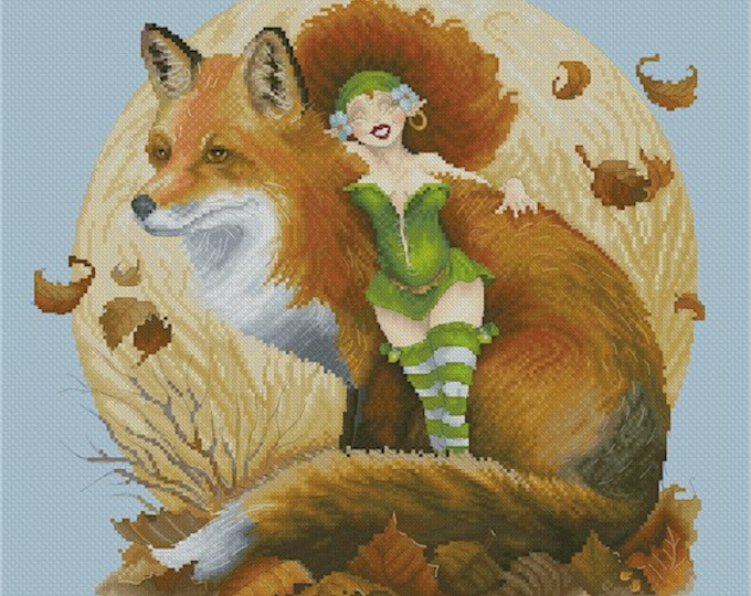 Cross Stitch Chart Fairy and Fox Pascal Moguerou Fantasy Art