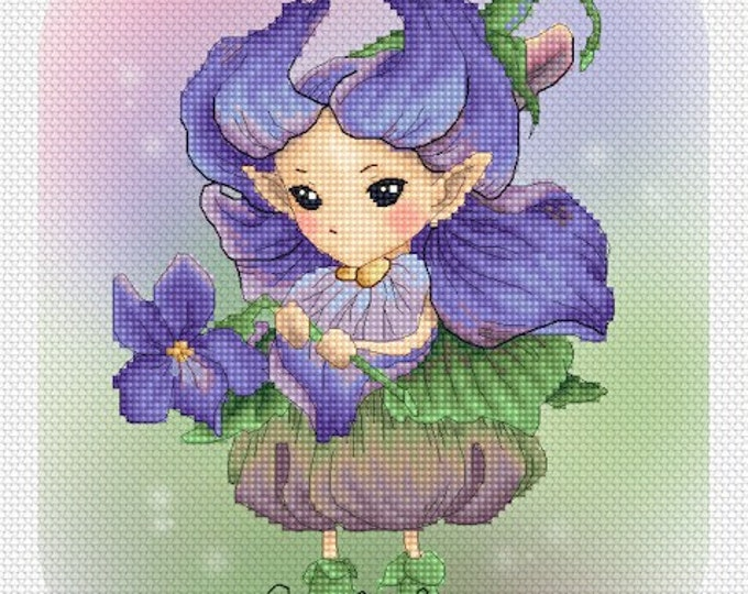 Cross stitch Chart Pattern Flower Sprites -  Violet Sprite