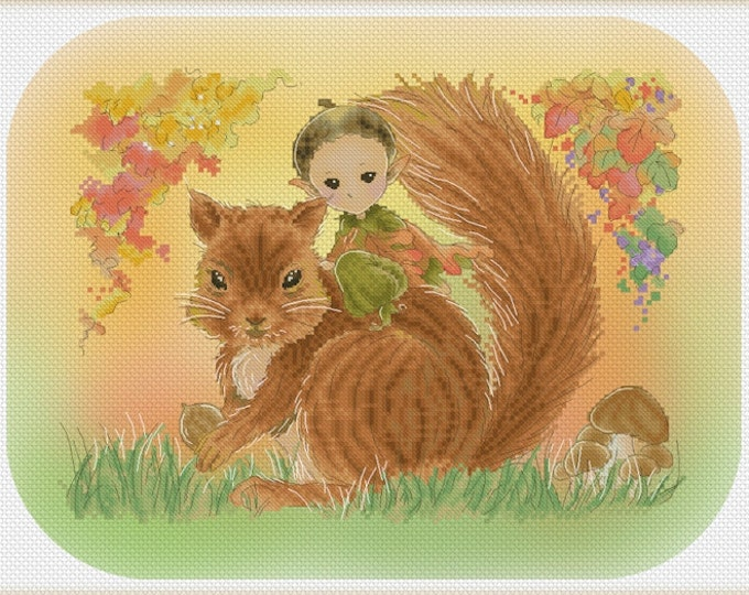 Great Acorn Hunt Mitzi Sato-Wiuff - Cross stitch Chart Pattern