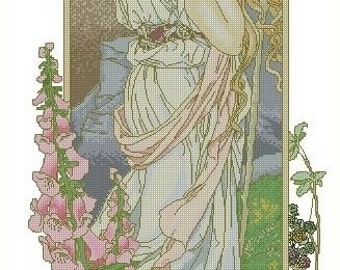 50% OFF Cross Stitch Needlepoint Chart Pattern Canvas Art Nouveau Elizabeth Sonrel Fleurs des Montagne