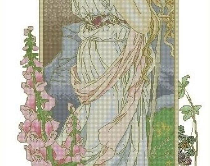 Cross Stitch Needlepoint Chart Pattern Canvas Art Nouveau Elizabeth Sonrel Fleurs des Montagne
