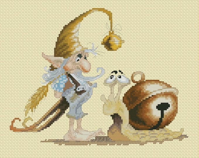 Cross Stitch Chart Gnome and his Snail by Pascal Moguerou Fantasy Art
