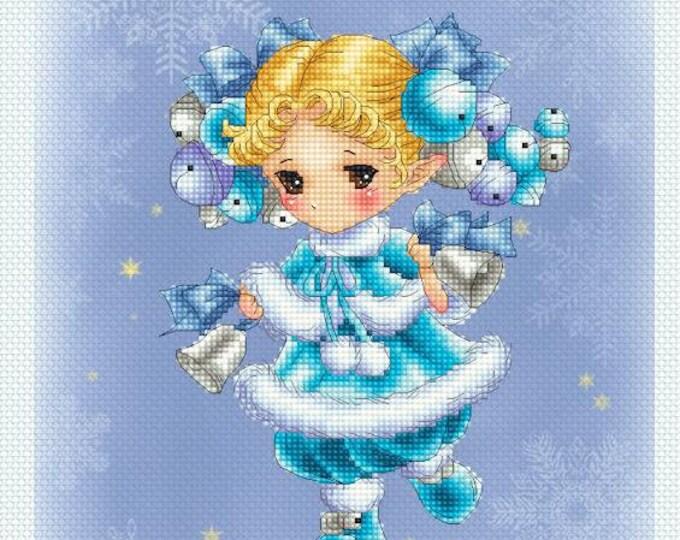 Christmas Jingle Bells Sprite Mitzi Sato-Wiuff - Cross stitch Chart Pattern