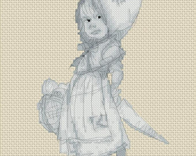 Cross Stitch Chart Gnome Girl Monochrome - Art of Jean-Baptiste Monge
