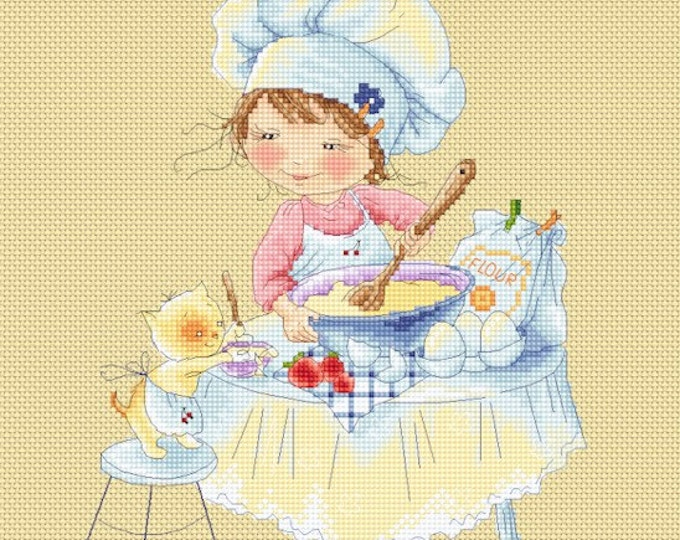Honey's Sweet Treats - Little Bakers - Girls Cross Stitch and Needlepoint Chart Pattern