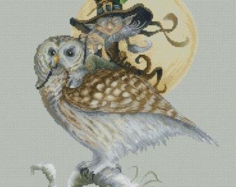 Cross Stitch Chart Gnome and Owl by Pascal Moguerou Fantasy Art