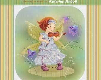 Fairy with Violin - Katerina Babok Girls Cross Stitch and Needlepoint Chart Pattern