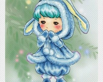 Bunny Blue Mitzi Sato-Wiuff - Cross stitch Chart Pattern