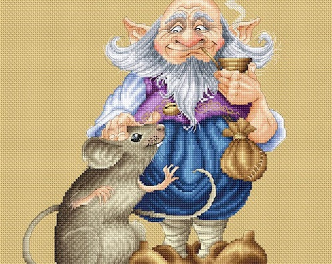 Cross Stitch Chart Gnome's Best Friend by Pascal Moguerou Fantasy Art