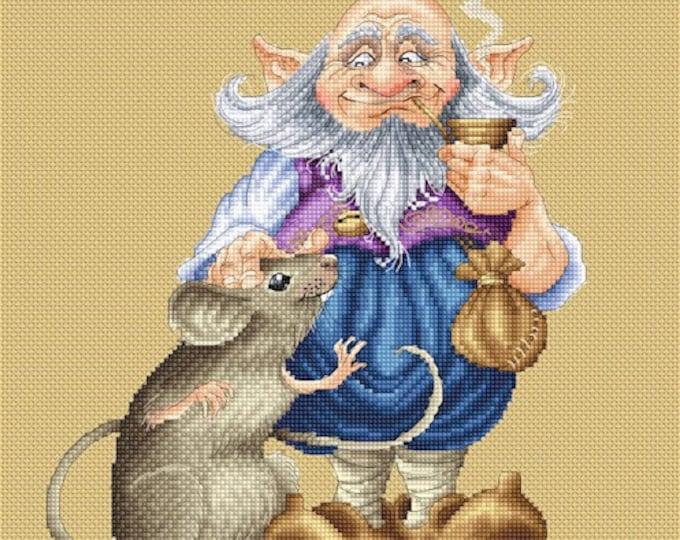 Cross Stitch Chart Gnome's Best Friend by Pascal Moguerou Fantasy Art