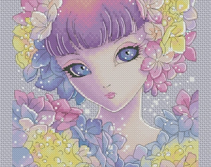 Hydrangea Fairy - Big Eyes by Mitzi Sato-Wiuff - Cross stitch Chart Pattern