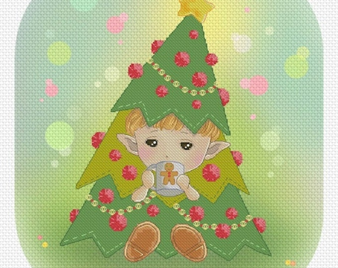 Waiting for Santa Mitzi Sato-Wiuff - Cross stitch Chart Pattern