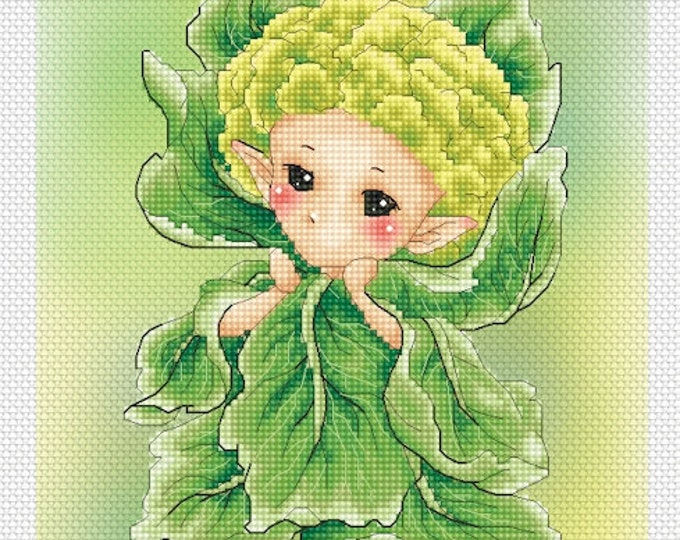 Cauliflower Sprite Mitzi Sato-Wiuff - Cross stitch Chart Pattern