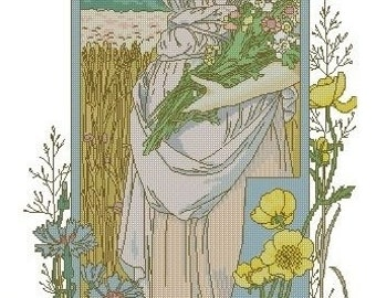 Cross Stitch Needlepoint Chart Pattern Canvas Art Nouveau Elizabeth Sonrel Fleurs des Champs