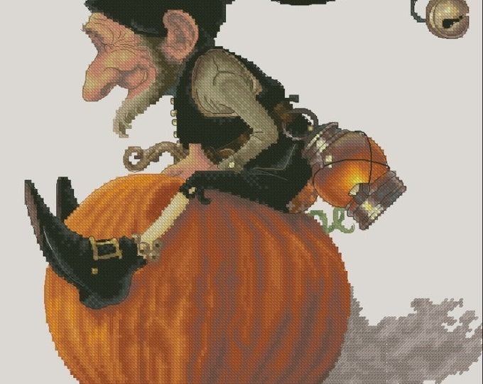 Cross Stitch Chart Pumpkin Flight by Lena Lawson Needlearts Jean-Baptiste Monge
