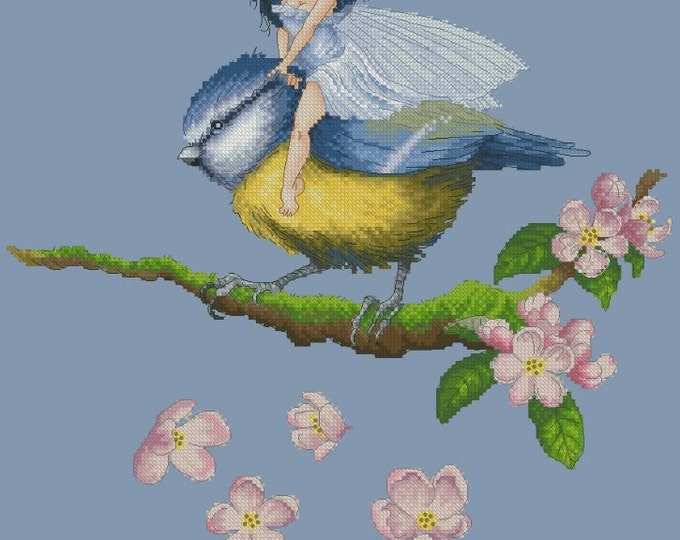 Cross Stitch Chart or Kit Fairy Chickadee Pascal Moguerou Fantasy Art