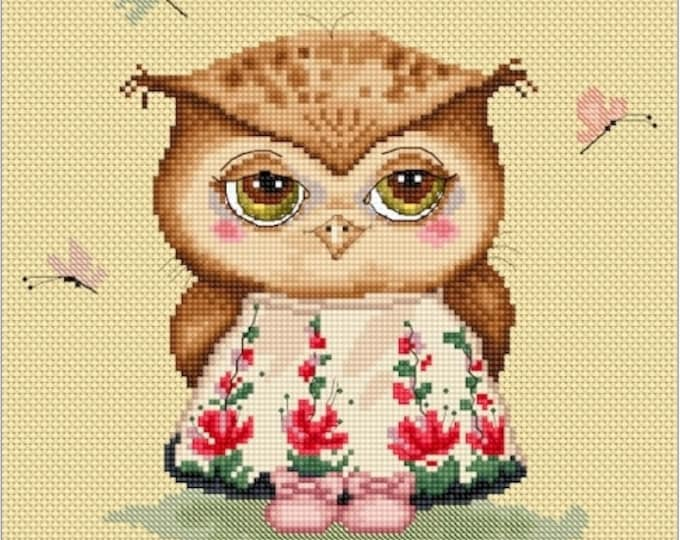Cross stitch chart pattern Owl Owlet in love