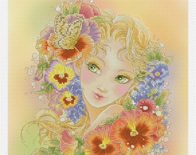 Pansy Fairy by Mitzi Sato-Wiuff - Cross stitch Chart Pattern