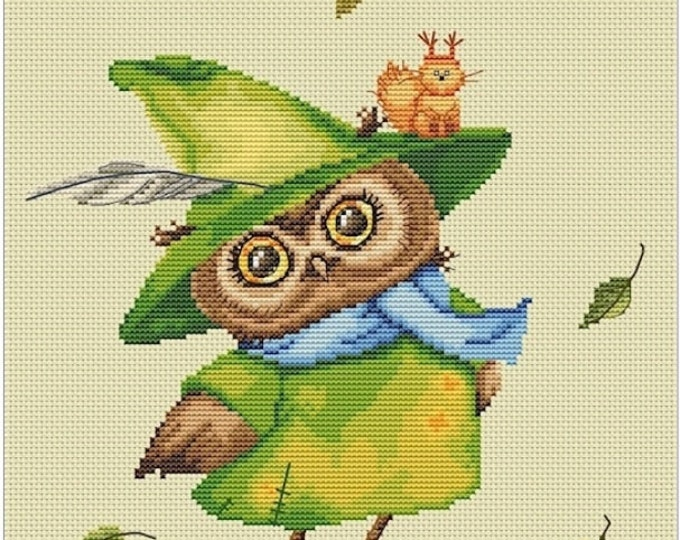 Cross stitch chart pattern kit Owlet Owl Witch of emerald forest