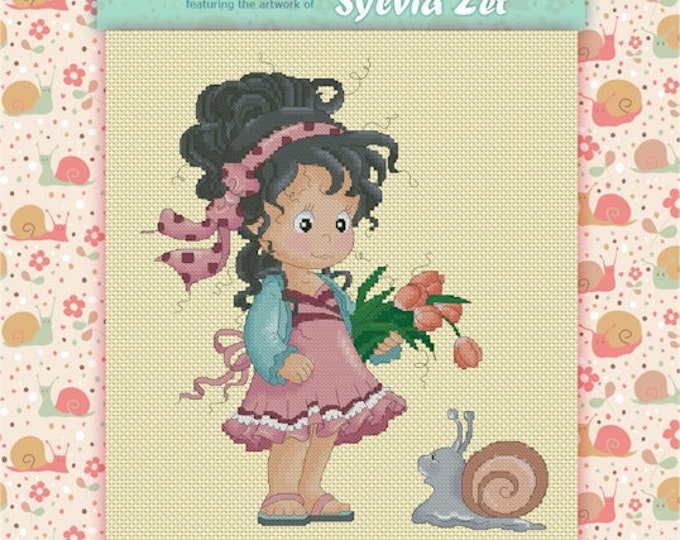 DISCONTINUED Loli and Snail by Sylvia Zet  - Cross Stitch Needlepoint Chart Pattern