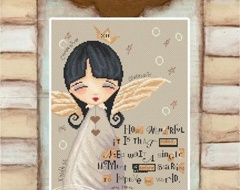 No need to wait Angel - Ann Frank Angel - art of Diane Duda - Cross stitch chart pattern -Lena Lawson Needlearts