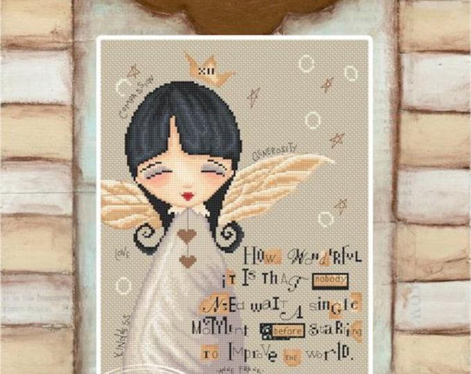 No need to wait Angel - Ann Frank Angel - art of Diane Duda - Cross stitch chart pattern -Lena Lawson Needlearts