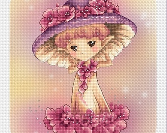 Whimsical Mushroom Sprite Mitzi Sato-Wiuff - Cross stitch Chart Pattern