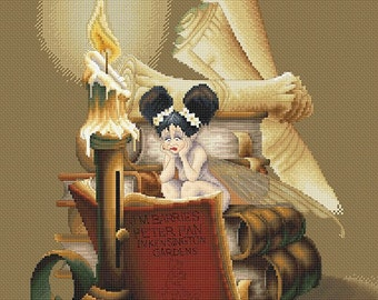 Cross Stitch Chart Bookworm Fairy by Pascal Moguerou Fantasy Art