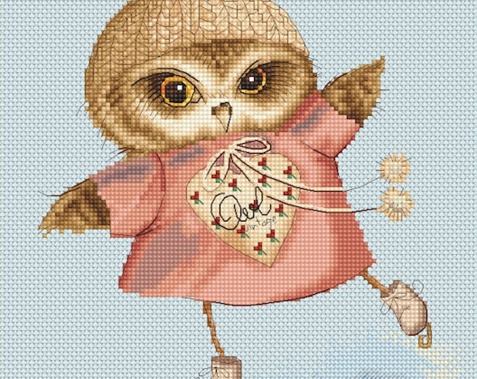 Cross stitch chart pattern Owlet Skating