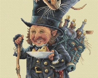 Cross Stitch Chart Gnome and Mouse - Art of Jean-Baptiste Monge
