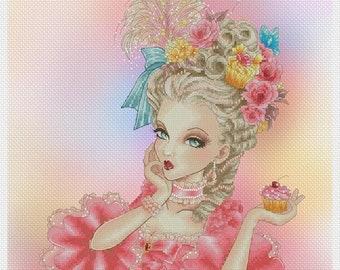 Marie Antoinette w/Cupcake Mitzi Sato-Wiuff - Cross stitch Chart Pattern