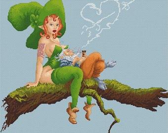 Cross Stitch Chart  Date Fairy and Leprechaun by Pascal Moguerou Fantasy Art