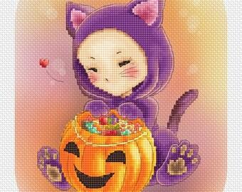Scaredy Cat Mitzi Sato-Wiuff - Cross stitch Chart Pattern
