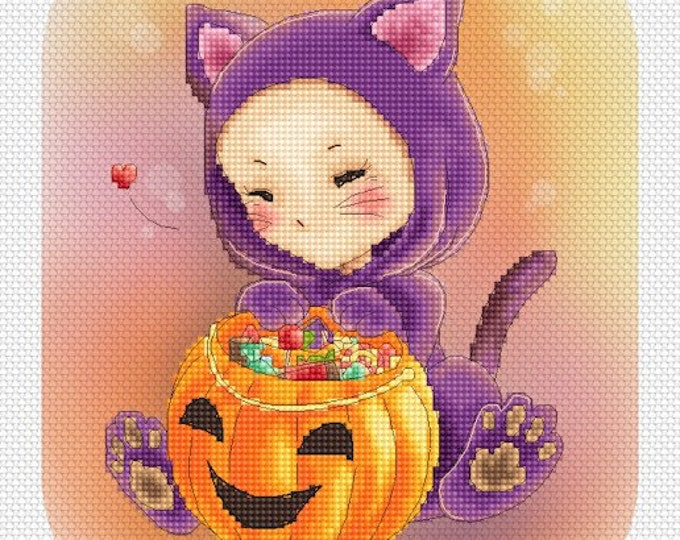 Scaredy Cat Mitzi Sato-Wiuff - Cross stitch Chart Pattern