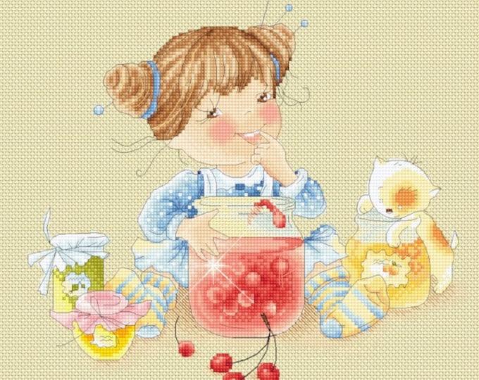 Honey's Sweet Treats - Jam Tasting - Girls Cross Stitch and Needlepoint Chart Pattern