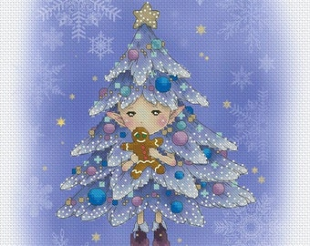 Christmas Tree Sprite Mitzi Sato-Wiuff - Cross stitch Chart Pattern