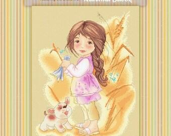 Birdy - Katerina Babok Girls Cross Stitch and Needlepoint Chart Pattern