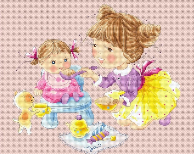Honey's Sweet Treats - Breakfast for Dolly - Girls Cross Stitch and Needlepoint Chart Pattern