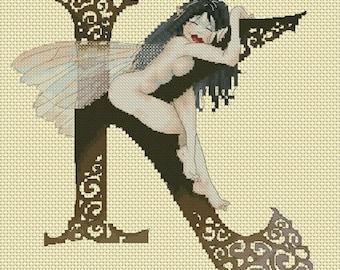 Cross Stitch Chart Illuminated Letter K by Pascal Moguerou Fantasy Art