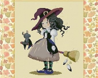 DISCONTINUED Hazel Witch by Sylvia Zet  - Cross Stitch Needlepoint Chart Pattern