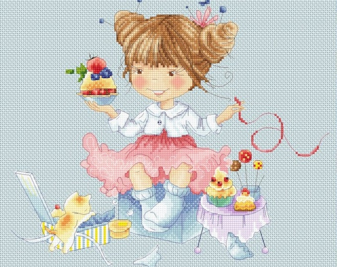 Honey's Sweet Treats - Cupcakes - Girls Cross Stitch and Needlepoint Chart Pattern