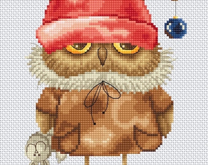 Cross stitch chart pattern Owl Owlet Karla with Reindeer Hat by Inga Paltser