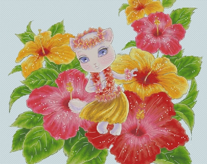 Hawaiian Dancer Sprite Mitzi Sato-Wiuff - Cross stitch Chart Pattern