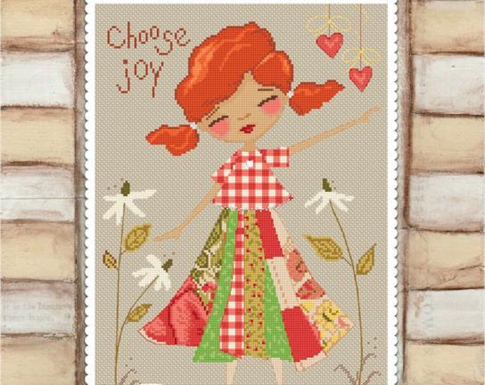 Choose Joy - art of Diane Duda - Cross stitch chart pattern - Lena Lawson Needlearts