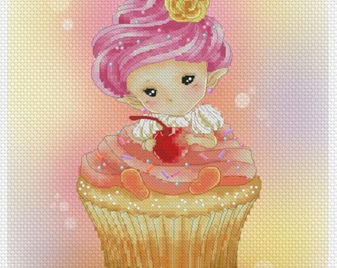 Cross stitch Chart Pattern Flower Sprites - Cupcake Sprite
