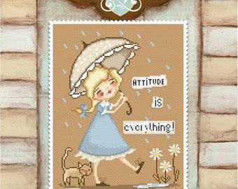 Attitude is everything - art of Diane Duda - Cross stitch chart pattern - Lena Lawson Needlearts