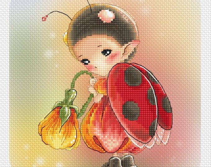 Cross stitch Chart Pattern Flower Sprites -  Ladybug Sprite